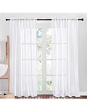 NICETOWN Sheer Curtains for Living Room - Rod Pocket Faux Linen Sheer Curtain Panels for Farmhouse/Sliding Glass Door (55W x 84L, White, 2 Pcs)