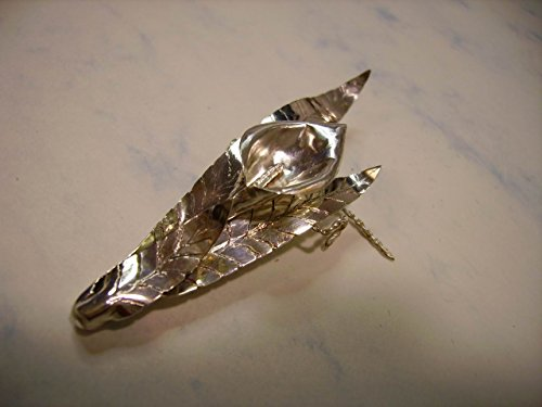Lilly in Leaves Fine Silver Brooch / Pin. Handmade, Handcrafted one of a kind ()