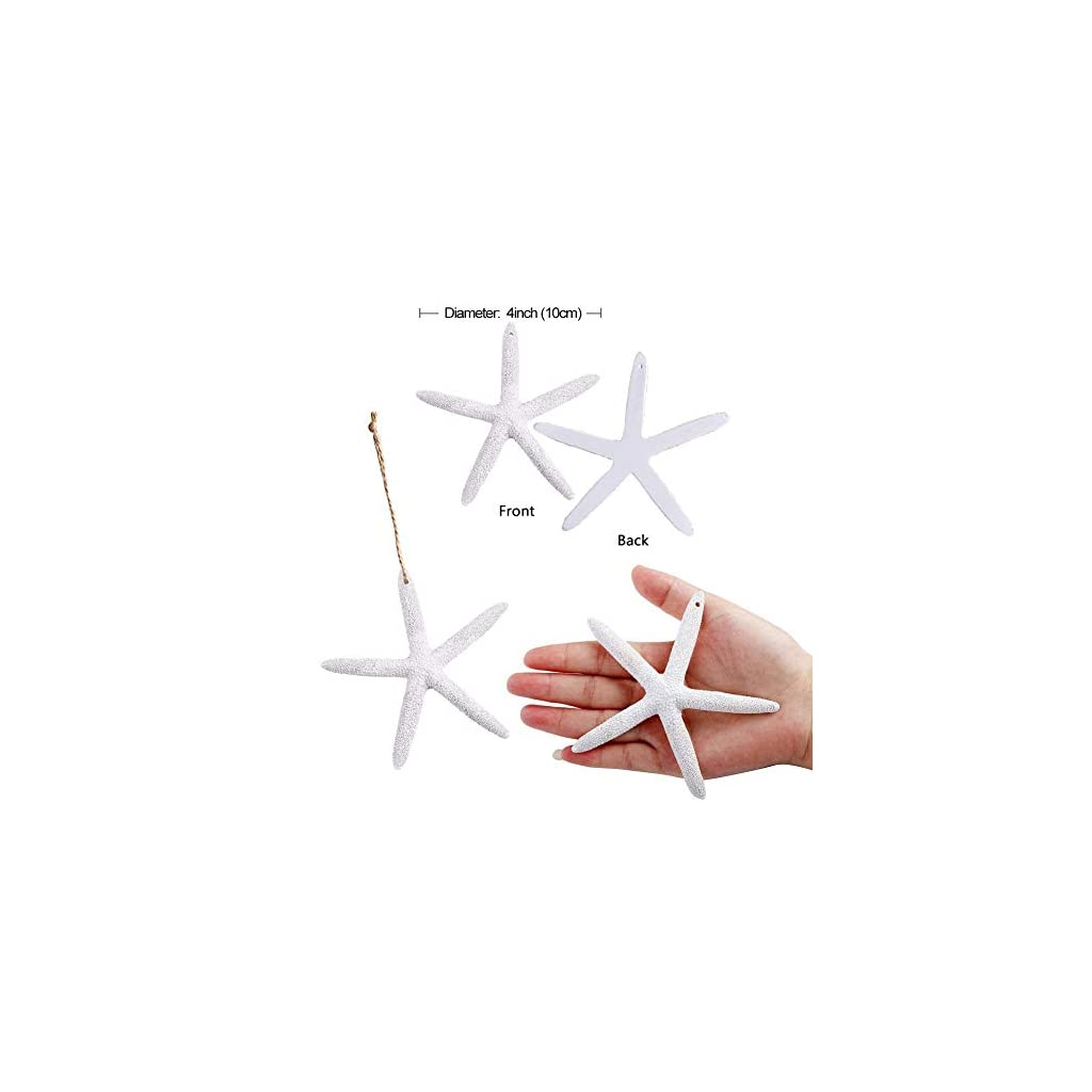 Aytai-50pcs-White-Finger-Starfish-with-Hemp-Rope-4-Inch-Artificial-Resin-Pencil-Starfish-for-Christmas-Tree-Hanging-Ornaments-DIY-Craft-Beach-Wedding-Christmas-Decorations