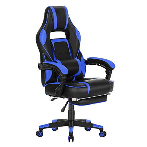 HEALGEN Gaming Chair with Massage Lumbar Pillow and Footrest Memory Foam Racing Gamer Chair Ergonomic High-Back Office Chair Reclining PC Desk Chair-Blue