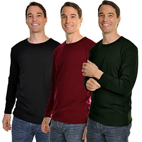 Swan Mens Fleece-Lined Long-Sleeve Thermal Tops #8915_C-BGR_L, Black Green Red 3 Pack