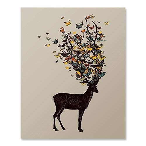 (Colorful Deer Antlers Butterfly Art Print Beautiful Animal Flying Insect Nature Wall Poster Wildlife Woodland Illustration Home Decor 8 x 10 inches)