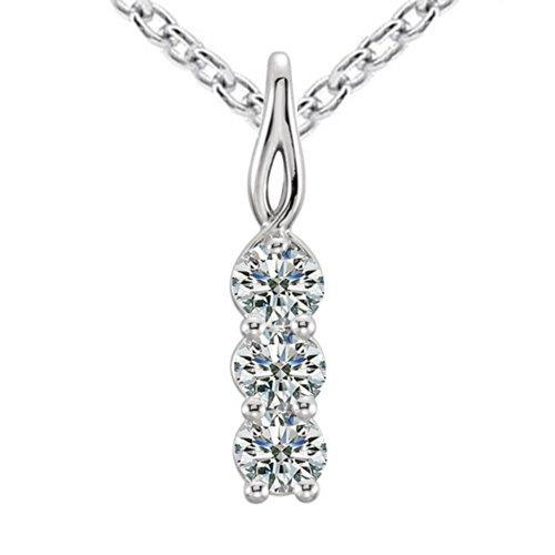 0.50 Ct Ladies Three Stone Round Cut Diamond Pendant / Necklace by Madina Jewelry