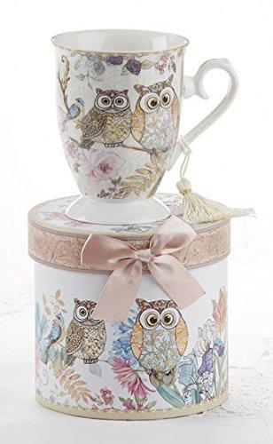 (Porcelain Tea / Coffee Mug in Matching Decoraive Box, Owls )