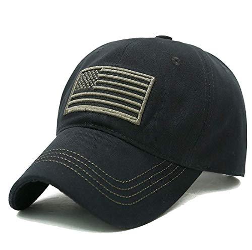 (LOKIDVE USA American Flag Baseball Cap Embroidered Polo Style Military Army Hat-Black)