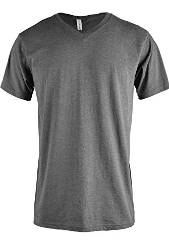 TOP LEGGING Men Casual Basic Short Sleeve Tri-Blend/100% Cotton V-Neck T Shirt Charcoal S