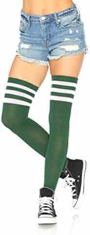 2ddbbc0b39b97 Leg Avenue Women's Hosiery Three Striped Athletic Ribbed Thigh Highs,  Hunter Green, O/