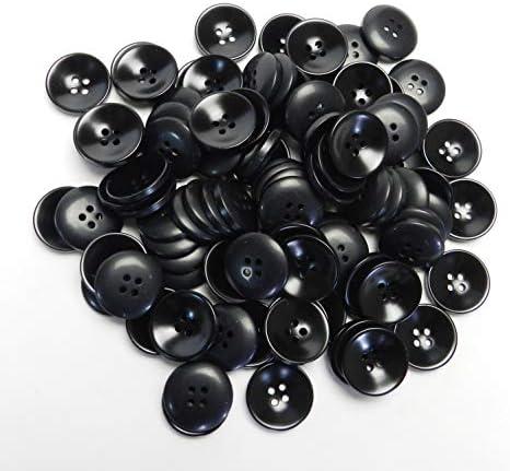 黒色ボタン 19mm 4穴 カーディガン 最適 100個入り L5007-19-BK-670