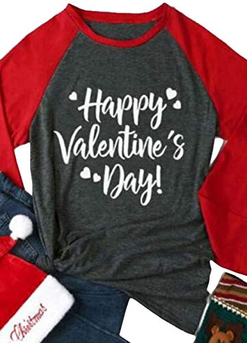 Happy Valentines Day Baseball T-Shirt Casual Women Top Full Long Sleeve Baseball Tees Size XXL (Red) ()