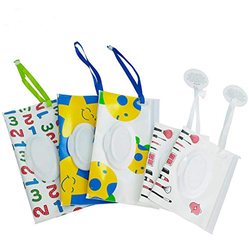 Reusable Wet Wipe Pouch(Set of 5)- Dispenser for Baby or Personal Wipes,Wet Wipe Portable Travel Cases (5 Pack)