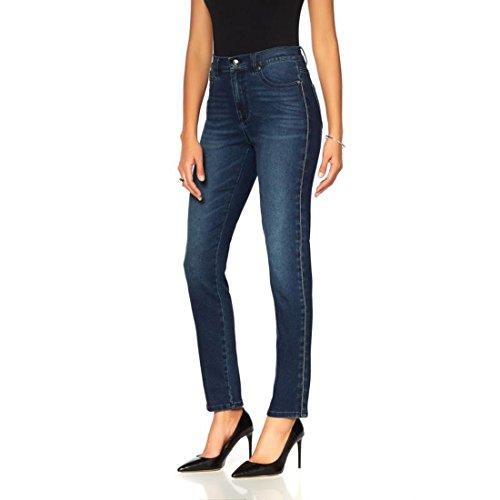 DG2 Diane Gilman Virtual Stretch Jeweled Skinny Jean Woven Indigo 14 New (Jeweled Womens Jeans)