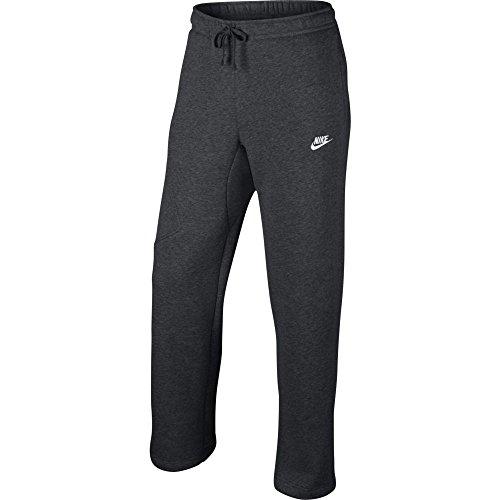 Nike Mens Open Hem Fleece Pocket Sweatpants Dark Grey/Whi...