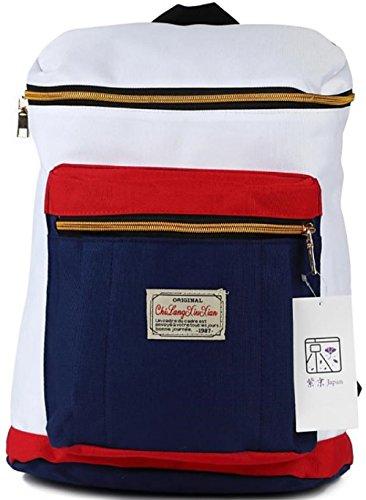 Shikyou  Large Capacity Box Style Casual Rucksack Shoulder Bag Backpack  White   Navy