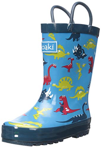 OAKI Kids Rubber Rain Boots with Easy-On Handles, Blue Dino, 8T US -