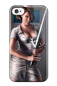 Hot Design Premium BplTTQy4318NRTRz Tpu Case Cover Iphone 4/4s Protection Case(fantasy Girl Nurse Gray Suit Sword Cartoon Paint Book Novels Anime Other)
