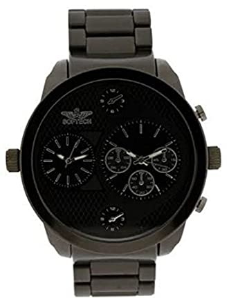 softech designer men s two time zone twin dial watch all black softech designer men s two time zone twin dial watch all black metal black face