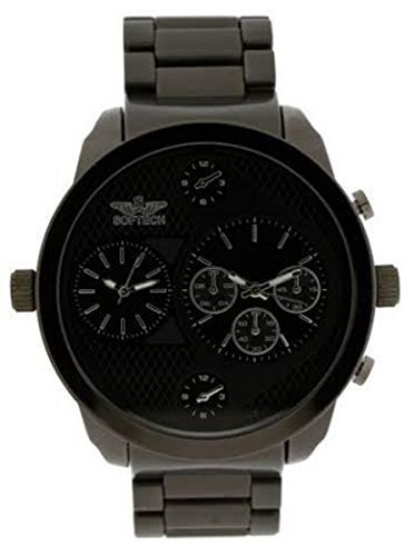 softech designer men s two time zone twin dial watch all black softech designer men s two time zone twin dial watch all black metal black face amazon co uk watches