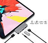 USB C HUB Adapter for iPad Pro 11 12.9 2019 2018 - USB C to HDMI Dongle - 3.5mm Earphone Headphone Jack with Volume Control - USB3.0 - Type C PD Charging Dock