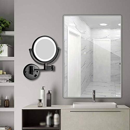 LEDライトアップウォールマウント化粧鏡、8インチのバニティミラー、1X / 10倍の倍率、360°のスイベル拡張可能、バスルームホテルのために、ブラック