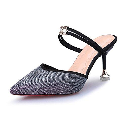 Btrada Women's Sexy Heeled Slide Sandals Pointy Toe Slip On Ankle Strap Kitten Heel Mules Pumps Dress Shoes Purple