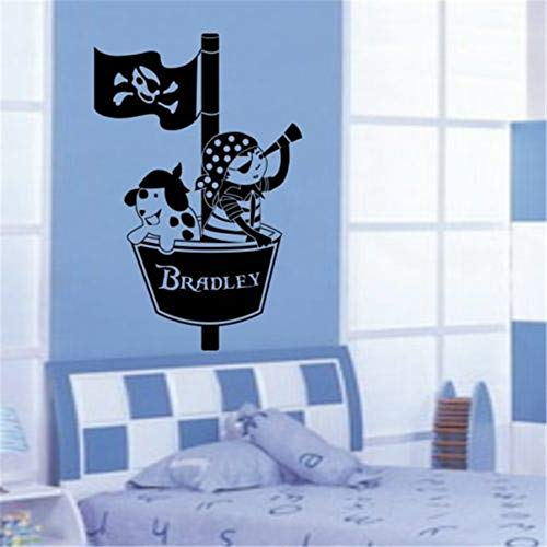 (Tisloa Decal Art Saying Lettering Sticker Wall Decoration Art Pirates Crows Nest Wall Sticker Decal Ship Personalised Bedroom Custom Boys Name for Kids Room Decor)