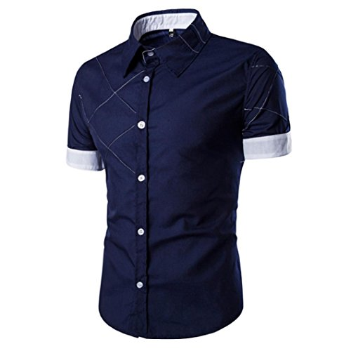 PHOTNO Fashion Men Boy Summer Slim Fit Short Sleeve Dress Shirt Casual Cotton T Shirt