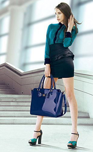 32 Shoulder Bags With Bow Blue Women's Faux Large Grab Tote Light LeahWard Leather Handbags 8xvq0CwYw