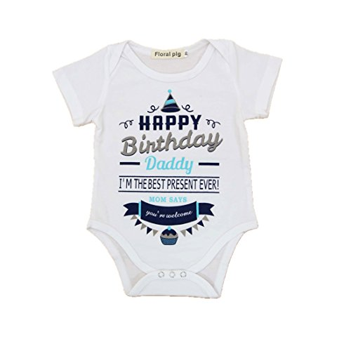 t Baby Boys Girls Outfits Happy Birthday Daddy Cake Print Romper Jumpsuit Clothes T-Shirt (18-24 Months) ()