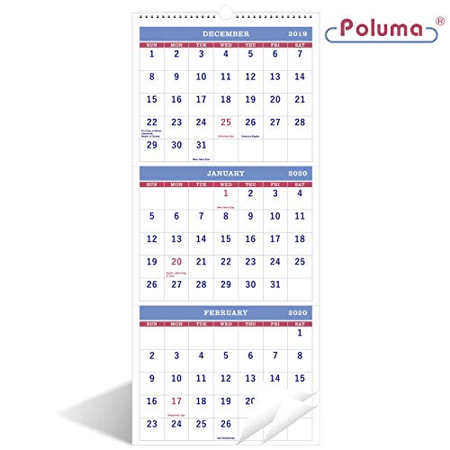 """2020 Calendar - 3-Month Calendar(Need to Open for 3-Months Display), 11"""" x 26"""", Vertical Calendar with Thick Paper, Perfect for Organizing & Planning, December 2019 - January 2021, Wirebound - Poluma"""