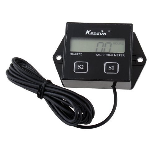 KEDSUM Upgrade Version Hour meter Tachometer 2 & 4 Stroke Small Engine Spark For Boat Outboard Mercury(Battery ()