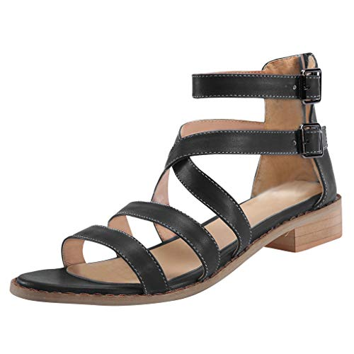 Respctful✿ Women Slip On Strappy Wedge Sandal Open Toe and Ankle Strap Buckle Flat Sandals Platform Wedge Shoes Black -