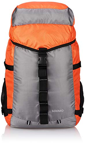 Amazon Brand – Solimo 60 Litres Rucksack Bag for Trekking and Camping, Orange and Grey
