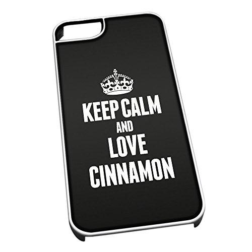 Bianco cover per iPhone 5/5S 0967nero Keep Calm and Love cannella