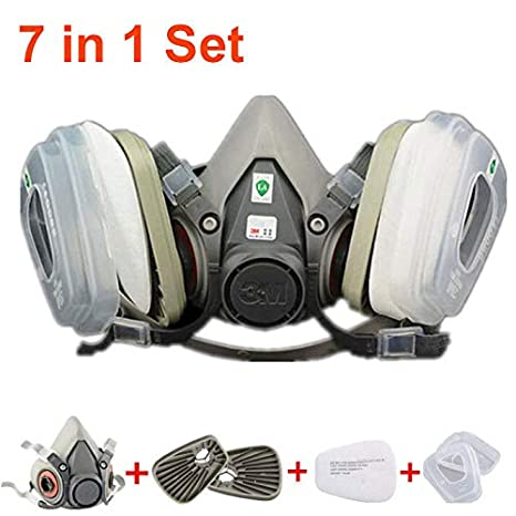 3m 6200 Half Facepiece Respirator Medium Size Painting Spraying Face Gas Mask Fire Protection