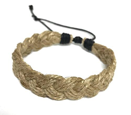 Hawaiian Surfer Style Natural Hemp Braided Bracelet Handmade Bracelet Adjustable Cord