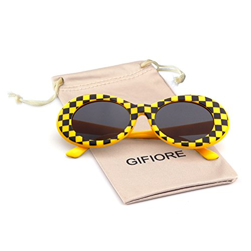 - Bold Retro Oval Mod Thick Frame Sunglasses Clout Goggles with Round Lens (Yellow grid, 51)