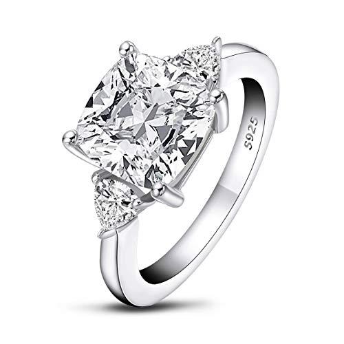 AINUOSHI 5.5 Carats Cushion Cut 925 Sterling Silver Sona Diamond Cubic Zirconia CZ 3 Stone Engagement Wedding Ring(8.5)