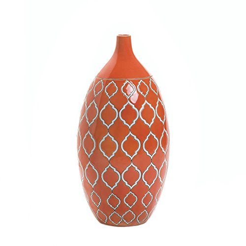 GHP Stoneware Geometric Pattern Merit Vibrant Orange Vase