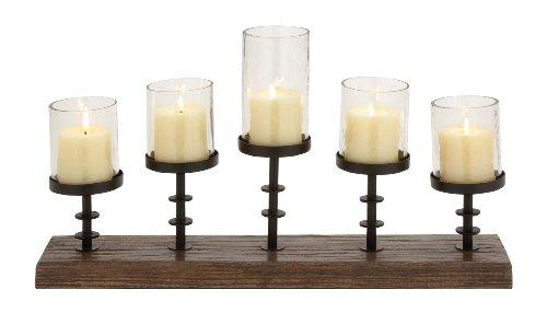 Deco 79 Wood Metal Candelabra with 5-Glass Votive, 24 by 13-Inch, Walnut Brown/Black - Light Walnut Five Bowl
