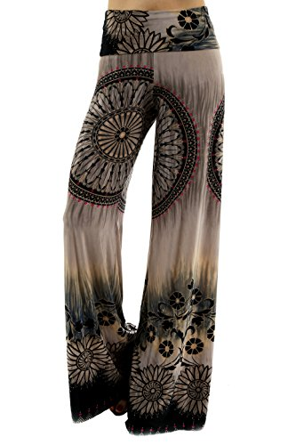 Uptown Apparel Womens Fold Over Waist Wide Leg Palazzo Pants, Good for Tall Curvy Women-Ships from U.S.A (Los Angeles)