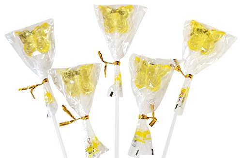 (12 Inch Long Butterfly Shaped Lollipops Suckers- 10 COUNT Bendy Flexible Sticks (Yellow))