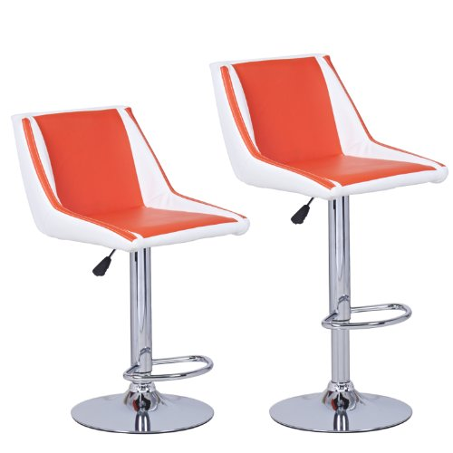 Joveco 360 Degree Adjustable Unique Two-Tone Leather Swivel Bar Stools Modern Design, Wider Comfortable seat- Set of 2 bar Stool A-Orange White