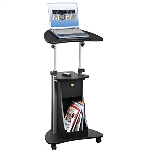 Pemberly Row Deluxe Height Adjustable Laptop Cart in Black by Pemberly Row