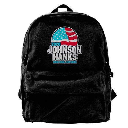 Jiujiu Station Johnson Hanks Laptop Vintage Casual Canvas Backpack Travel Hiking Rucksack