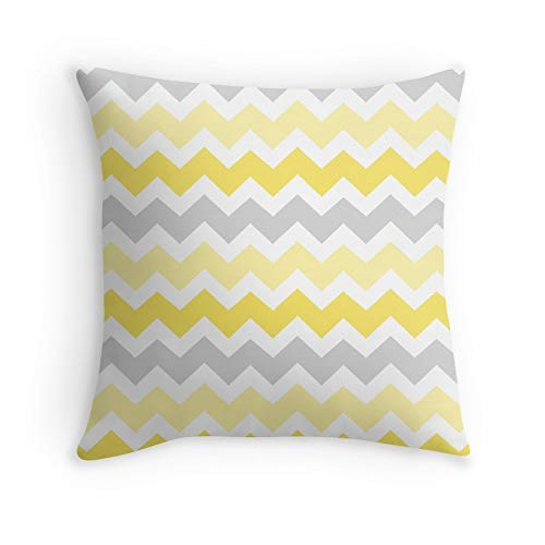 Yellow Grey Chevron Pattern for Sofa Couch Living Room Bed Decorative