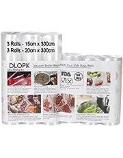 Bolsas de Vacío 6 Rollos 15x300cm y 20x300cm Bolsas Profesional para la Conservación,Sous Vide Cocina, Aprobación de la FDA y BPA Free