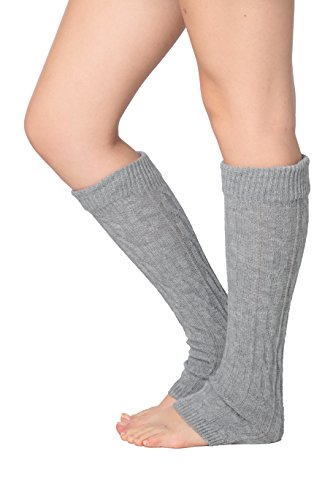 Isadora Paccini Women's Cable Knit Leg Warmers, One Size, LW14, Grey (Petite Knit Cable)