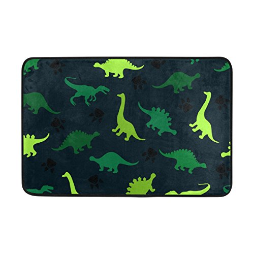 INGBAGS JSTEL Colorful Dinosaurs On The Abstract Doormat Indoor/Outdoor Washable Garden Office Door Mat,Kitchen Dining Living Hallway Bathroom Pet Entry Rugs with Non Slip Backing