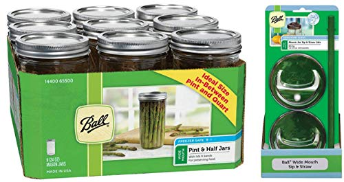 Jar Drinking Glasses Kit - Ball Jar Wide Mouth Pint and Half Jars with Lids and Bands, Regular, Set of 12 + 2 Mason Sip and Straw Lids -24 ()