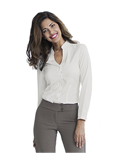 T.O. Women Fitted Long Sleeve Button Down Shirt Top Blouse (.
